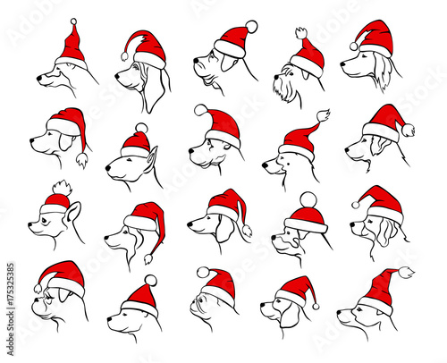 xmas happy new year 2018 outlined silhouettes of different dogs heads profiles faces portraits in black