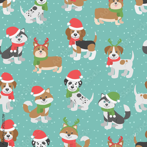 Cute Christmas Seamless Pattern With Cartoon Dogs Funny