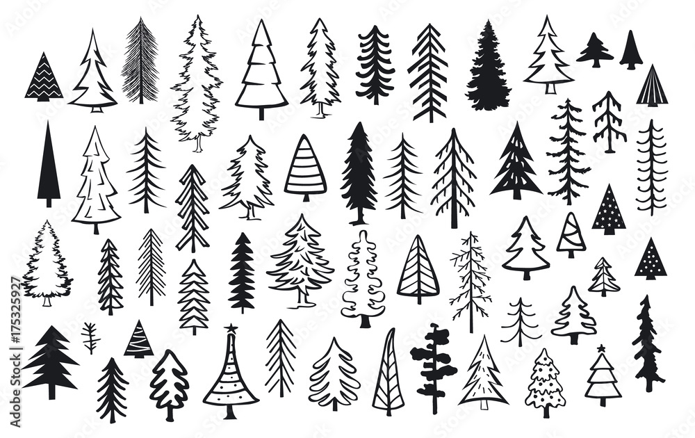 Fototapety, obrazy: cute abstract conifer pine fir christmas needle trees collection