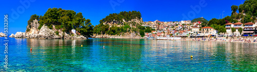 Poster Cote Greek holidays - sunny colorful Parga town with amazing crystal sea