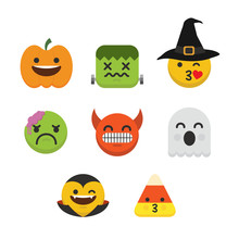 Set Of Emoji Halloween Emotico...