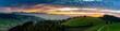 Sonnenuntergangs-Panorama über Linden und den Voralpen inkl. Stockhorn, Aebersold, Schweiz