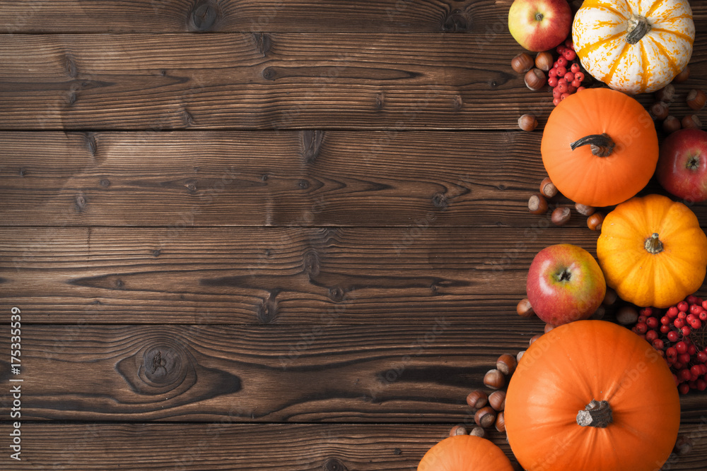 Fototapety, obrazy: Autumn harvest on wooden table