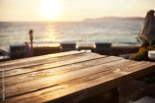 Obraz wooden table close up - fototapety do salonu