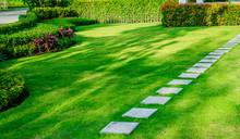 Pathway In Garden,green Lawns With Bricks Pathways,garden Landscape Design