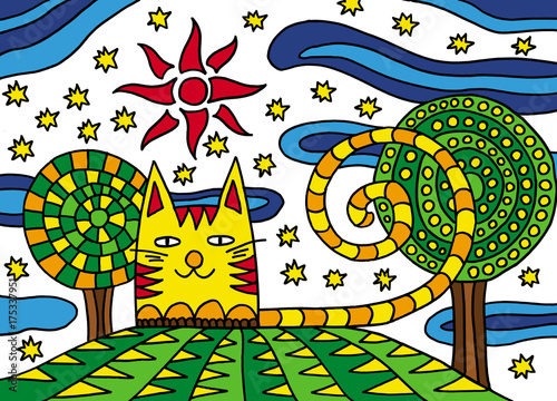 Cat on a green meadow. Drawing for children