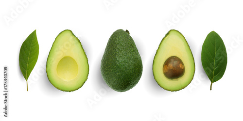 Seamless pattern with avocado and leaves on white background. Whole and half avocado with leaves.Food concept.