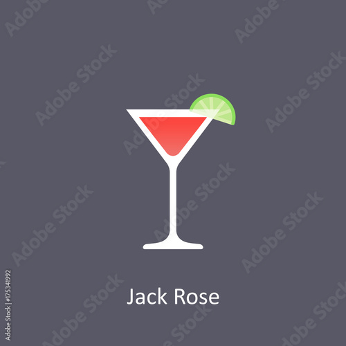 Jack Rose cocktail icon on dark background in flat style Poster