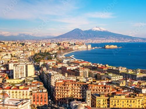 Foto op Aluminium Napels Aerial scenic view of Naples with Vesuvius volcano