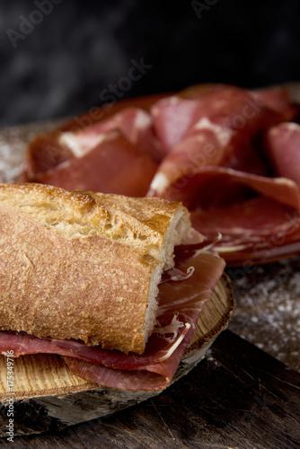 spanish bocadillo de jamon, serrano ham sandwich