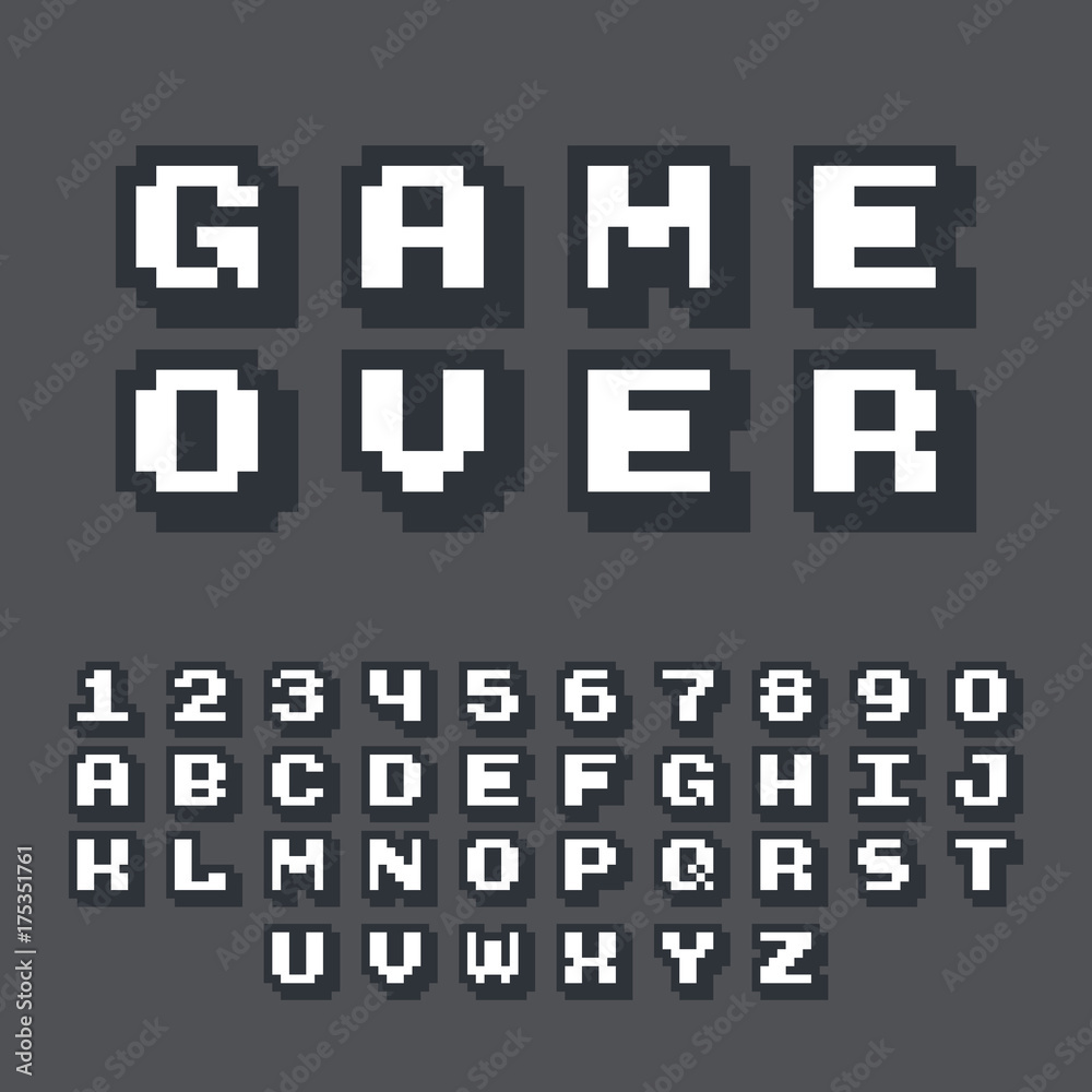 Fototapeta 3d pixel video game 8 bit font. Poster typeface with shadow 3d effect. Set of retro style latin capital letters and numbers. Vector illustration font.