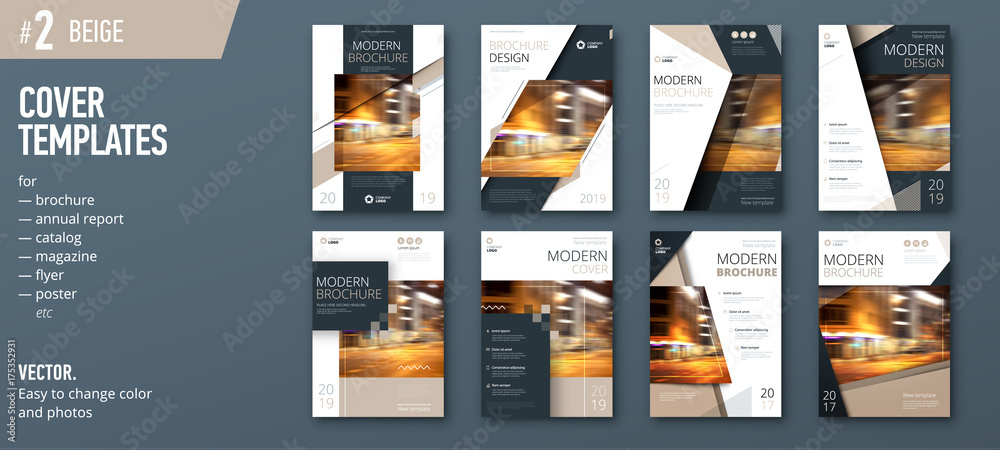 Fototapeta Set of business cover design template for brochure, report, catalog, magazine or booklet. Creative vector background concept. Beige