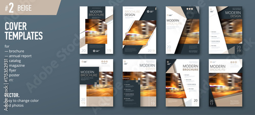 Photo Set of business cover design template for brochure, report, catalog, magazine or booklet