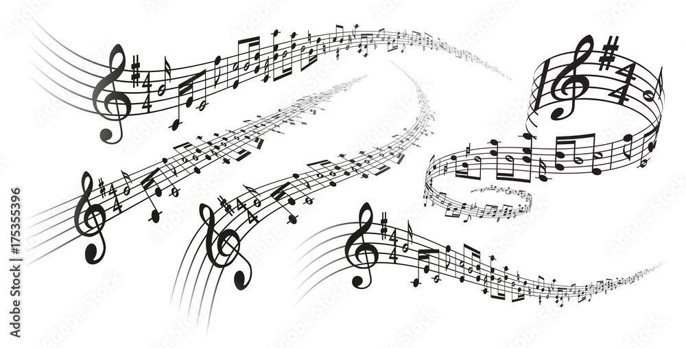 Fototapety, obrazy: Vector musical score decorations