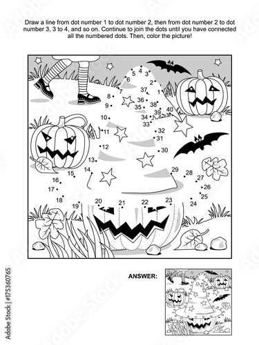 Photo  Connect the dots picture puzzle and coloring page - Halloween scene with witch hat, pumpkins, bats, and young witch legs