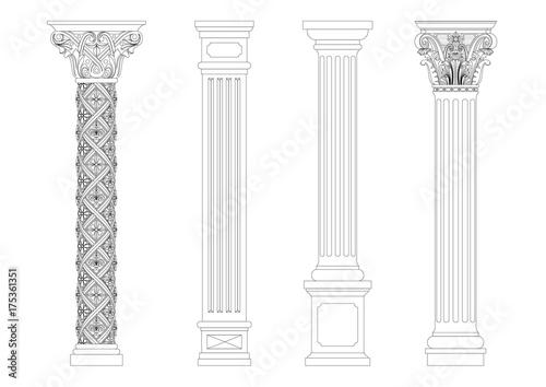 Fotografia Contouring coloring of classical columns