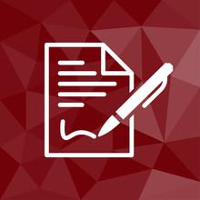 Vertragsabschluss - Icon Mit Geometrischem Hintergrund Rot