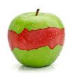Manzana verde con interior roja
