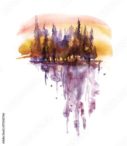 akwarela-fioletowy-krajobraz-na-pomaranczowym-niebie-slonca