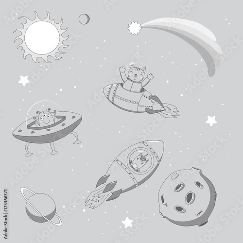 Photo Stands Illustrations Hand drawn monochrome vector illustration of a cute funny alien in a flying saucer and unicorn and cat astronauts in rockets, on a background with planets.