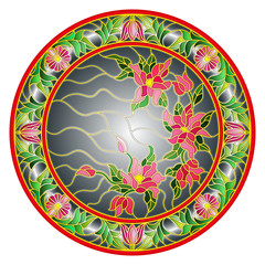 Naklejka Illustration in stained glass style flowers on a dark background in a bright floral frame , round picture