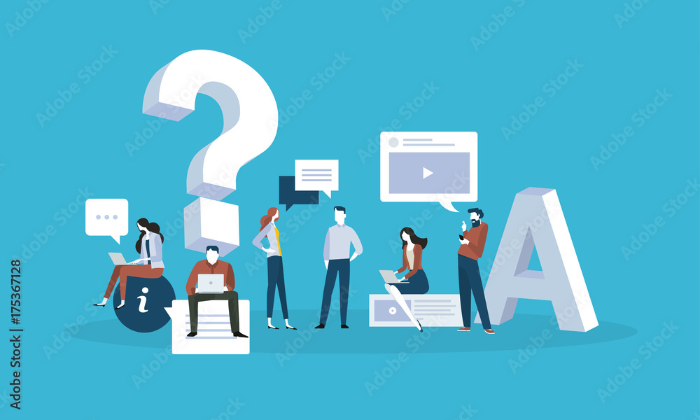 Fototapeta FAQ. Flat design business people concept for answers and questions. Vector illustration for web banner, business presentation, advertising material.