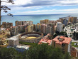 panoramic view of the malaga city and of the bullfighting arena