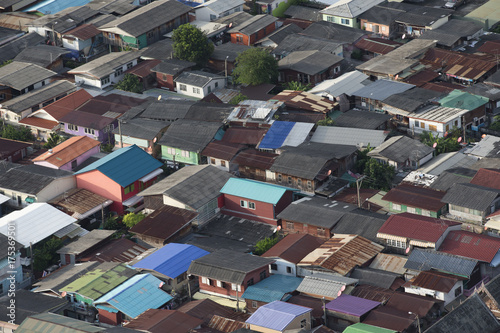 Aerial view of houses in Bangkok residential area Poster