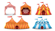 Circus Tent Set Vector. Multicolored Funfair, Carnival Holidays Concept. Illustration