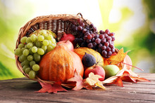 Autumn Nature Concept. Fall Fruit And Vegetables On Wood. Thanksgiving Dinner.