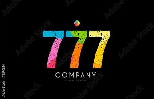 Tela 777 number grunge color rainbow numeral digit logo