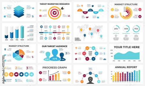 Marketing infographic, cycle diagram, global business graph ... on