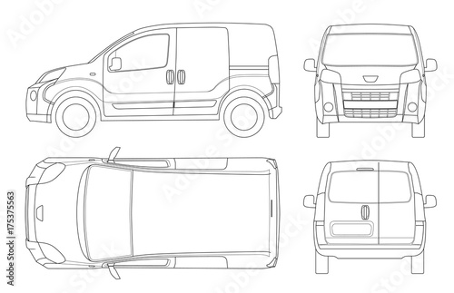 Small Van Car in lines  Isolated car, template for car