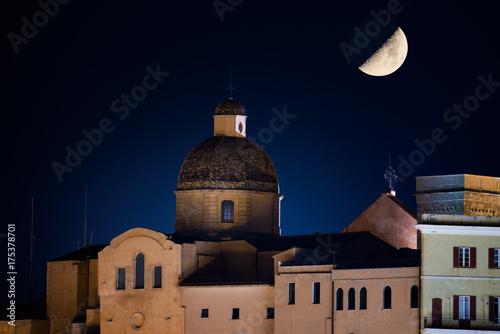 Cagliari, Sardinia : the Cathedral of Santa Maria Assunta at night with rising moon