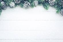 Snowfall On Christmas Fir Tree...
