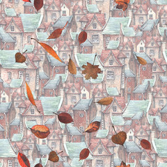 FototapetaA seamless pattern with a watercolor illustration of falling leaves and an old town on the background. Roofs, European brick houses, autumn leaves - romantic fairytale.