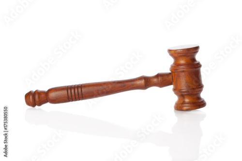 Photo Wooden gavel isolated on white background