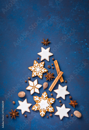 Christmas Cookies and Spices over blue