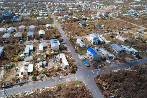 Valokuva  Drone image of homes destroyed in the Florida Keys Hurricane Irma