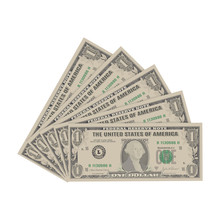Dollar. Bills One Dollar Isolated On A White Background. Vector Illustration