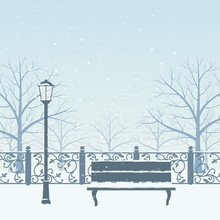Snow Drifts In Winter Park. Snow Covered Trees, Bench And Street Lamp. Christmas  Illustration.