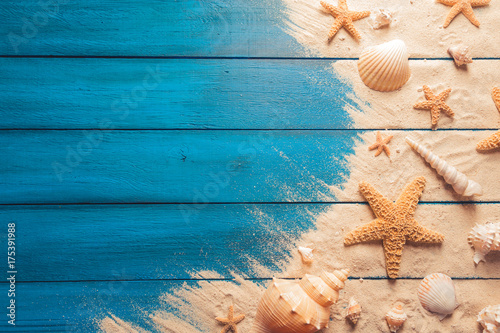 Valokuvatapetti beach scene concept with sea shells and starfish on a blue wooden background