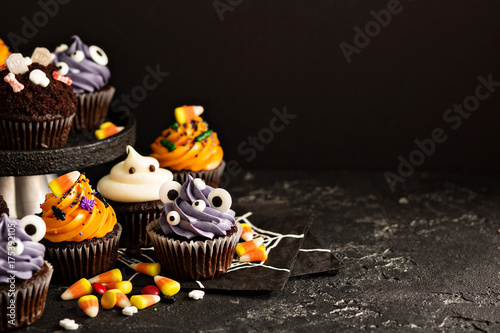 Festive Halloween cupcakes and treats Canvas Print