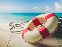 Life Saver On A Dock At The Beach, Summer Vacations