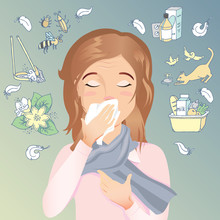 Woman Has An Allergy, Runny Nose And Cough.Allergic To Dust, Pollen, Animals, Medicines, Food And Insects. / Vector Cartoon Illustration
