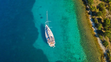 Aerial View Of Sailing Boat An...