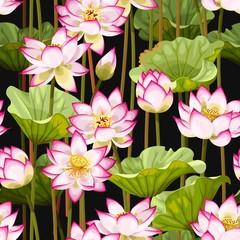 Panel Szklany Orientalny Seamless pattern with lotus flowers