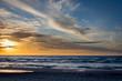 Beautiful sunset over Baltic Sea - seascape with sea horizon