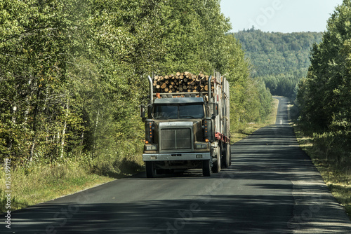 Stickers pour porte Pierre, Sable Big Logging truck moving highway wood from harvest field plant Canada ontario quebec
