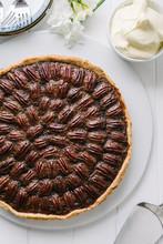 Pecan Pie With Cream, A Servin...